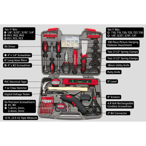 View a Larger Image of 144 Piece Household Tool Kit with 4.8V Cordless Screwdriver