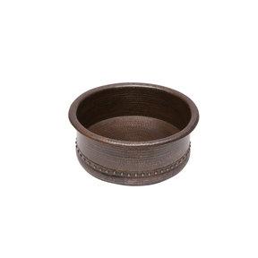 """15"""" Round Vessel Tub Hammered Copper Sink"""
