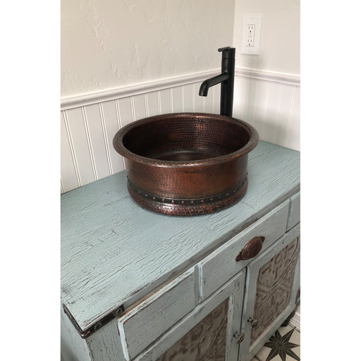 """View a Larger Image of 15"""" Round Vessel Tub Hammered Copper Sink"""