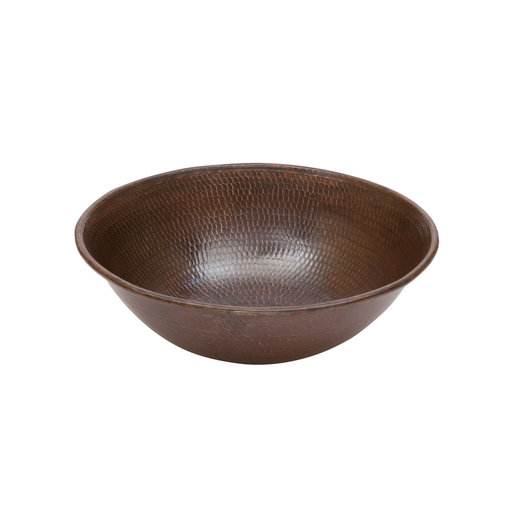 """View a Larger Image of 15"""" Round Wired Rim Vessel Hammered Copper Sink"""