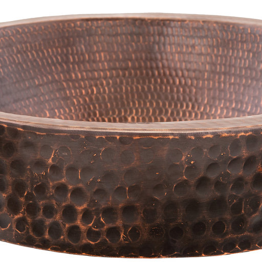 """View a Larger Image of 15"""" Small Round Skirted Vessel Hammered Copper Sink"""