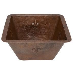 """15"""" Square Fleur De Lis Copper Bar/Prep Sink w/ 2"""" Drain Size"""