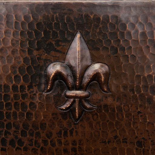 """View a Larger Image of 15"""" Square Fleur De Lis Copper Bar/Prep Sink w/ 2"""" Drain Size"""