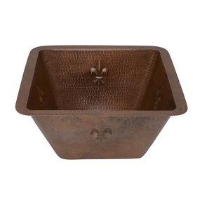 """15"""" Square Fleur De Lis Copper Bar/Prep Sink w/ 3.5"""" Drain Size"""
