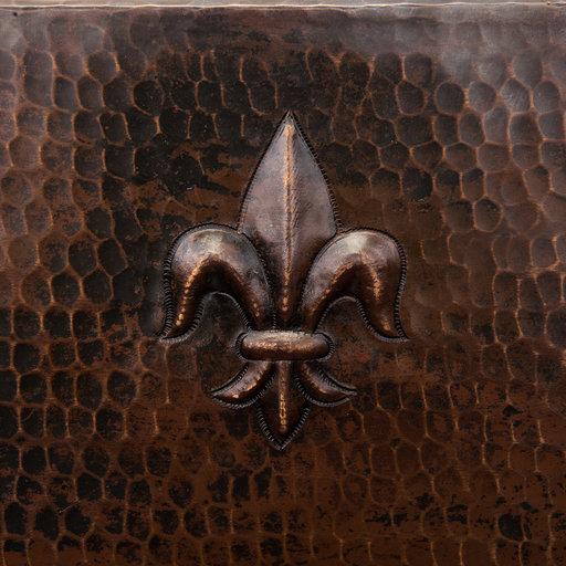 """View a Larger Image of 15"""" Square Fleur De Lis Copper Bar/Prep Sink w/ 3.5"""" Drain Size"""