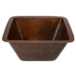 """15"""" Square Hammered Copper Bar/Prep Sink w/ 2"""" Drain Size"""