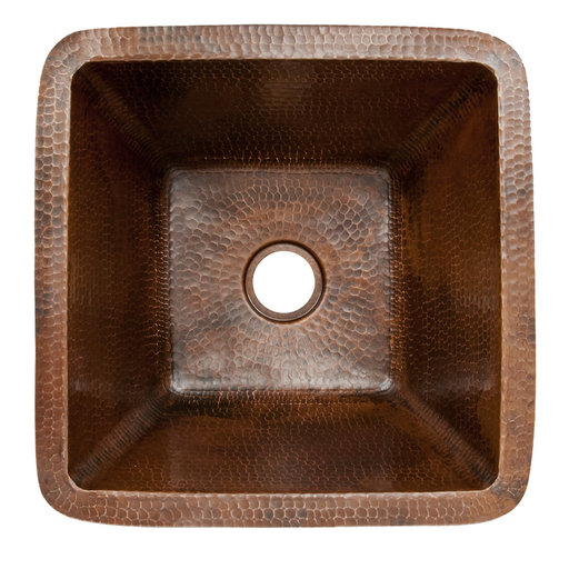 """View a Larger Image of 15"""" Square Hammered Copper Bar/Prep Sink w/ 2"""" Drain Size"""
