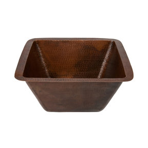 """15"""" Square Hammered Copper Bar/Prep Sink w/ 3.5"""" Drain Size"""