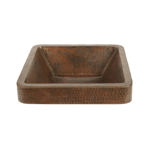 """View a Larger Image of 15"""" Square Skirted Vessel Hammered Copper Sink"""