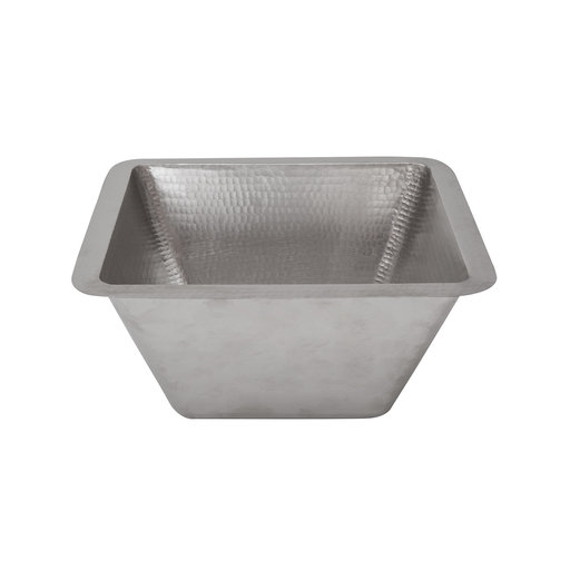"""View a Larger Image of 15"""" Square Under Counter Hammered Copper Bathroom Sink in Nickel"""