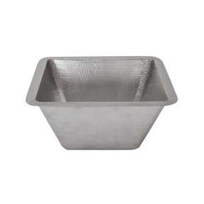 """15"""" Square Under Counter Hammered Copper Bathroom Sink in Nickel"""