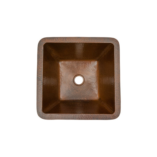"""View a Larger Image of 15"""" Square Under Counter Hammered Copper Bathroom Sink"""