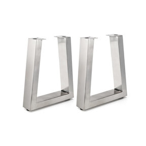 """16-1/8"""" (410 mm) Adjustable Tapered Bench Legs Stainless Steel Pack of 2"""