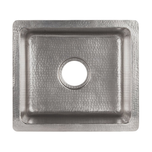 """View a Larger Image of 16"""" Gourmet Rectangular Hammered Copper Bar/Prep Sink in Nickel"""