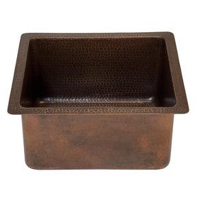 "16"" Gourmet Rectangular Hammered Copper Bar/Prep Sink"