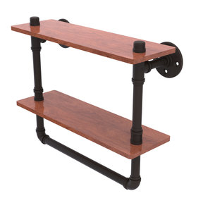 "16"" Double Ironwood Shelf with Towel Bar, Matt Black Finish"