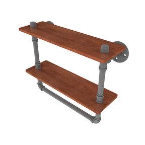 "16"" Double Ironwood Shelf with Towel Bar, Matt Gray Finish"