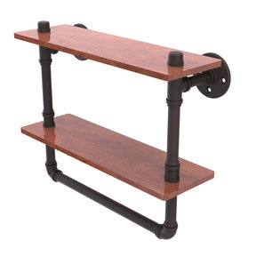 """16"""" Double Ironwood Shelf with Towel Bar, Oil Rubbed Bronze Finish"""