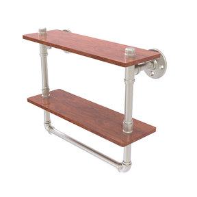 """16"""" Double Ironwood Shelf with Towel Bar, Satin Nickel Finish"""