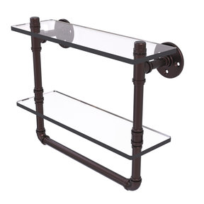 """16"""" Double Glass Shelf with Towel Bar, Antique Bronze Finish"""