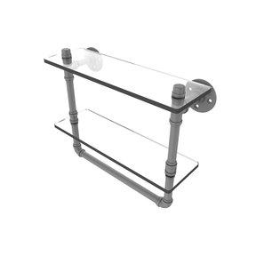 "16"" Double Glass Shelf with Towel Bar, Matt Gray Finish"