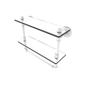 "16"" Double Glass Shelf with Towel Bar, Matt White Finish"