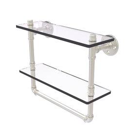 "16"" Double Glass Shelf with Towel Bar, Satin Nickel Finish"