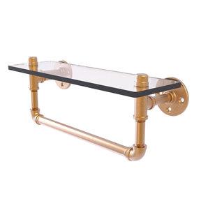 "16"" Glass Shelf with Towel Bar, Brushed Bronze Finish"