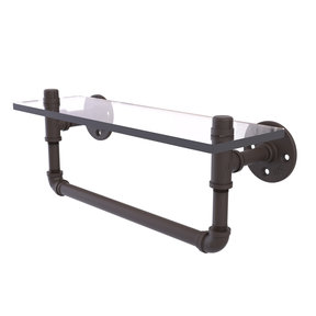"""16"""" Glass Shelf with Towel Bar, Oil Rubbed Bronze Finish"""