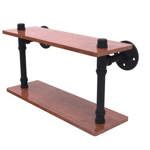 "View a Larger Image of  16"" Ironwood Double Shelf, Matt Black Finish"