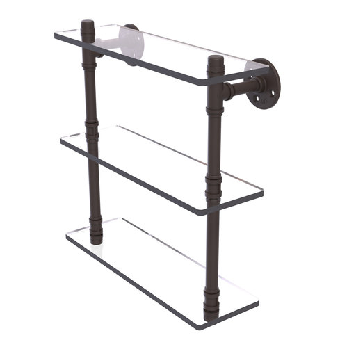 """View a Larger Image of  16"""" Triple Glass Shelf, Oil Rubbed Bronze Finish"""