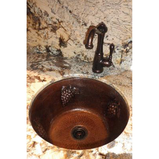 """View a Larger Image of 16"""" Round Copper Bar Sink w/ Grapes and 2"""" Drain Size"""
