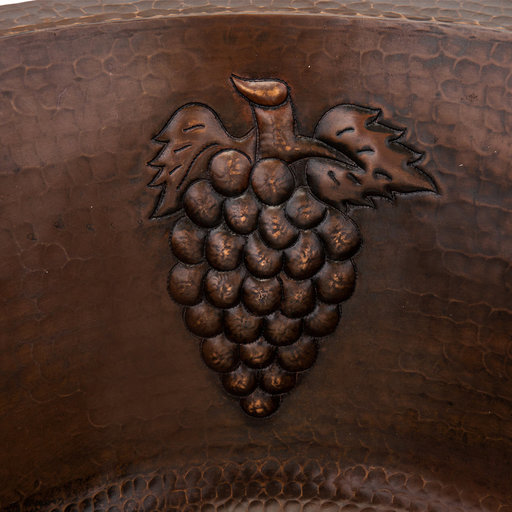 """View a Larger Image of 16"""" Round Copper Prep Sink w/ Grapes and 3.5"""" Drain Size"""