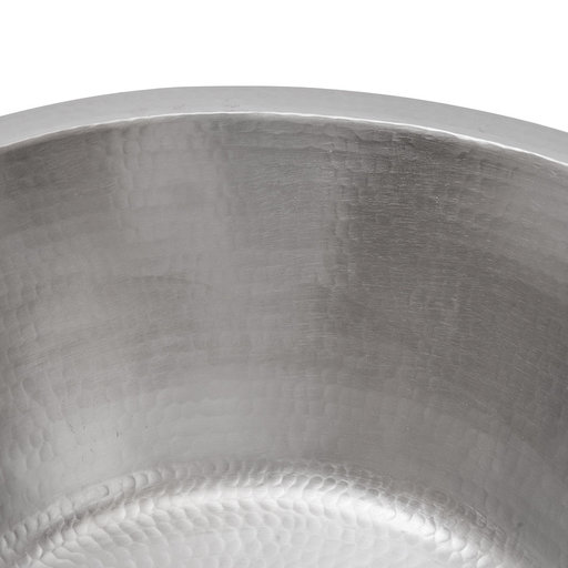 """View a Larger Image of 16"""" Round Hammered Copper Prep Sink in Nickel w/ 3.5"""" Drain Size"""