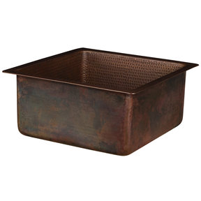 """16"""" Square Hammered Copper Bar/Prep Sink with 3.5"""" Drain Opening"""