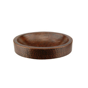"""17"""" Compact Oval Skirted Vessel Hammered Copper Sink"""
