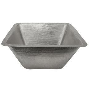"17"" Large Square Hammered Copper Bar/Prep Sink in Nickel"
