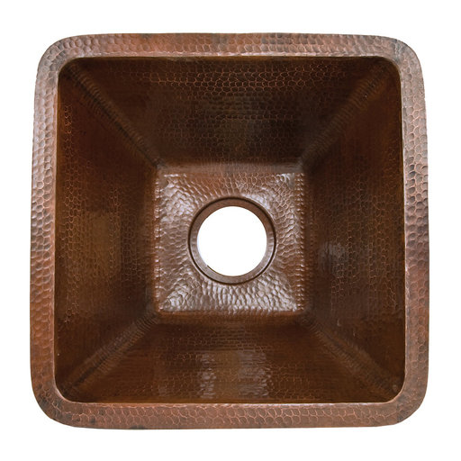 """View a Larger Image of 17"""" Large Square Hammered Copper Bar/Prep Sink"""