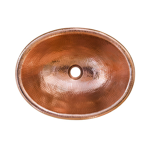 """View a Larger Image of 17"""" Oval Self Rimming Hammered Copper Bathroom Sink in Polished Copper"""