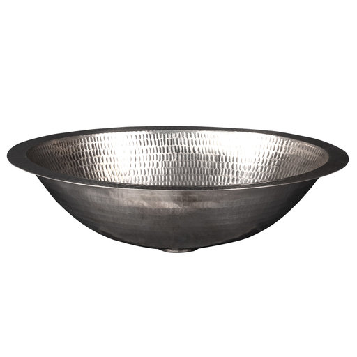 """View a Larger Image of 17"""" Oval Under Counter Hammered Copper Bathroom Sink in Nickel"""