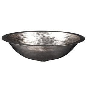 "17"" Oval Under Counter Hammered Copper Bathroom Sink in Nickel"