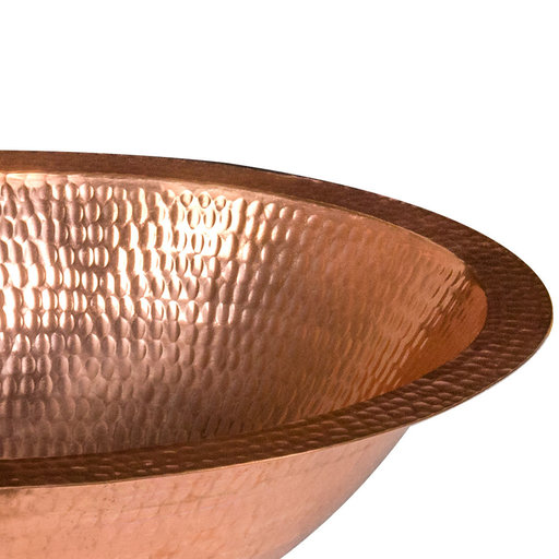 """View a Larger Image of 17"""" Oval Under Counter Hammered Copper Bathroom Sink in Polished Copper"""