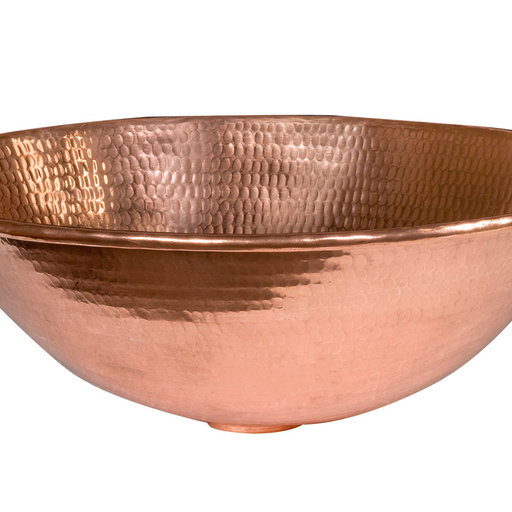 """View a Larger Image of 17"""" Oval Wired Rim Vessel Hammered Copper Sink in Polished Copper"""