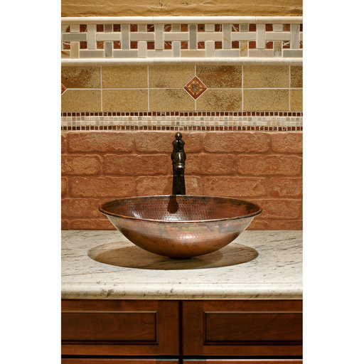 """View a Larger Image of 17"""" Oval Wired Rim Vessel Hammered Copper Sink"""