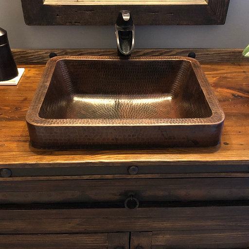 """View a Larger Image of 17"""" Rectangle Skirted Vessel Hammered Copper Sink"""