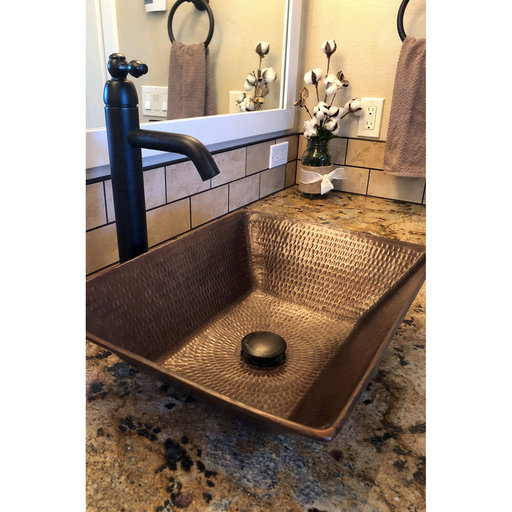 """View a Larger Image of 17"""" Rectangle Wired Rim Vessel Hammered Copper Sink"""