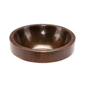 "17"" Round Skirted Vessel Hammered Copper Sink"