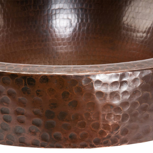 """View a Larger Image of 17"""" Round Skirted Vessel Hammered Copper Sink"""