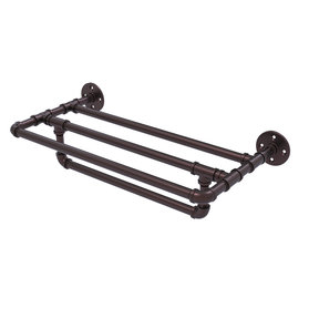 """18"""" Wall Mounted Towel Shelf with Towel Bar, Antique Bronze Finish"""