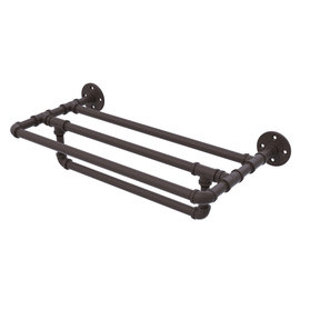 """18"""" Wall Mounted Towel Shelf with Towel Bar, Oil Rubbed Bronze Finish"""
